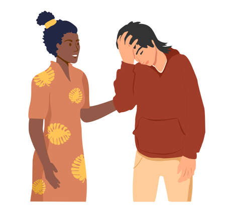 Empathy. Empathy and Compassion concept - woman soothes upset guy. Helping hand or psychological care. Psychological support. Multiethnic people talking. Vector illustration on white background.
