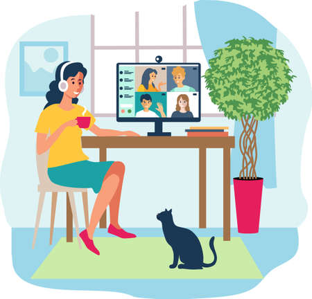 Home office concept, online communication woman working from home, student or freelancer. Cute vector illustration in flat style