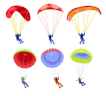Parachutists. People on parachutes set. Skydivers flying with parachutes set, extreme parachuting sport and skydiving concept vector Illustrations on a white background 矢量图像