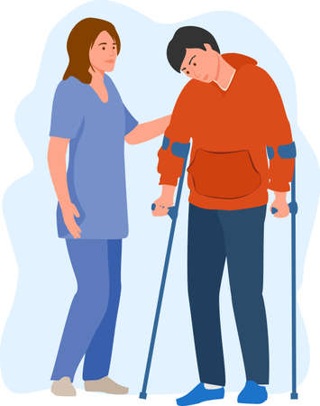 Female doctor physical therapist helping male patient on crutches. A nurse helps a man with crutches to walk. Healthcare medicine concept. vector illustration
