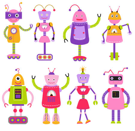 Cute cartoon robots set for girls, isolated on white background, vector illustration. Artificial Intelligence AI icons set. Robots cartoon character design