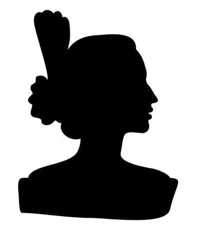 Flamenco dancer, spanish. The drawing of the proud lady with a graceful hairstyle. Beautiful female profile black silhouette Isolated on white background. Vector