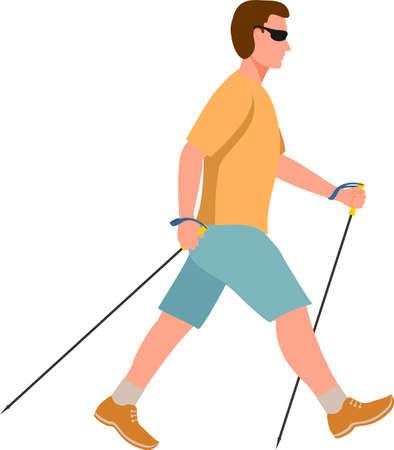Man doing nordic walking vector. The flat illustration of sport hiking man. Exercising isolated vector illustration 矢量图像