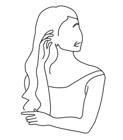 Line art woman illustration. Modern minimal design. Abstract minimalistic female figure. Elegant art. For posters, tattoos,   of wear stores. vector illustration