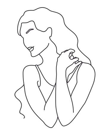Line art woman illustration. Modern minimal design. Abstract minimalistic female figure. Vector fashion illustration of the female body in a trendy style. Elegant art. For posters, tattoos 矢量图像