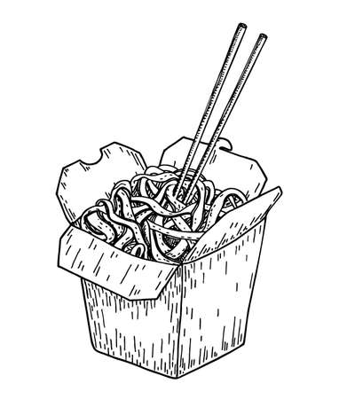 Asian food noodle sketch. Wok box. Asian fast food. Perfect for restaurant brochure, cafe flyer, delivery menu. Chinese noodles with chopsticks 矢量图像