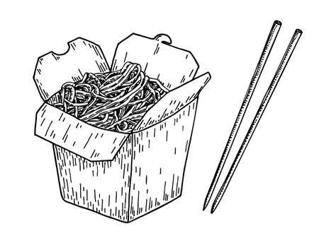 Asian food noodle sketch.Wok box. Asian fast food. Perfect for restaurant brochure, cafe flyer, delivery menu. Chinese noodles with chopsticks 矢量图像