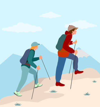Vector background with tourists. Woman and man couple hiking in mountains. Travel concept of discovering, exploring and observing nature. Travelling, tourism, mountaineering, activity, adventure.