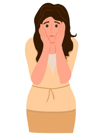 Surprised and shocked woman with a scared face expression clutching her head in panic. Negative emotion of female character. Colored flat vector illustration isolated on white background