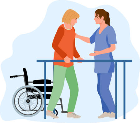 Disabled female at orthopedic rehabilitation therapy at clinic. Patient learning to walk using parallel bars with help of physiotherapist. Physical therapy treatment of people with injury, disability
