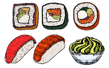 Sushi and rolls sketch set. For stickers, labels, logos - Asian food with fish, rice, seaweed, caviar. Wasabi. Restaurant food. Colorful illustration for the children.