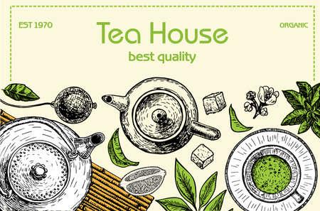 Tea Shop frame illustration. Vector card design with tea. Tea house poster. Vector hand drawn set. Sketch graphic