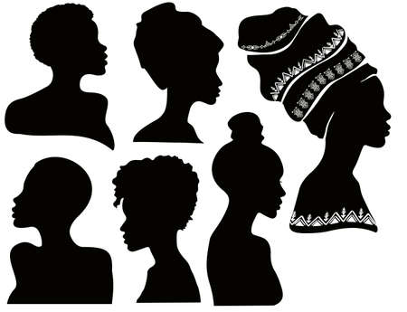 Profiles of black women. Silhouettes of african american women in a head wrap. Beautiful black girls profile. Vector fashion illustration isolated on white. Set of silhouettes african female face.