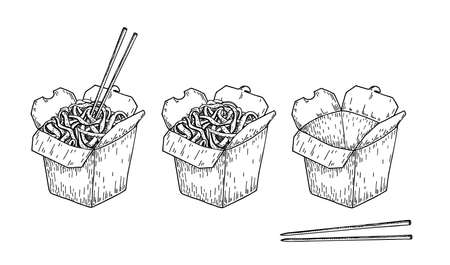 Wok vector drawing sketch. Isolated chinese box and chopsticks with noodles and vegetables. Hand drawn detailed fast asian food illustration. Great for banner, poster, sign