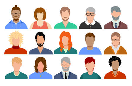 Multinational and mixed age people avatars. Portraits of diverse men and women of different races. Set of user profiles. Colored flat vector illustration