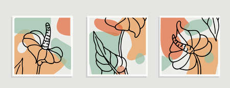 Botanical wall art set. Flower line art drawing with abstract shape vector illustration. Abstract plant art design for print, cover, wallpaper, T-shirts, Minimal and natural boho wall art 矢量图像