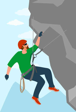 A man is engaged in extreme sports, a climber is training on rocks, strength and endurance training. Rock climbing 矢量图像