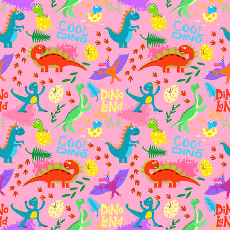 Cute colored dinosaurus seamless pattern vector design. Illustration of seamless background dino, animal dinosaur character. Sketch reptiles. Wrapping paper, textile, background fill.
