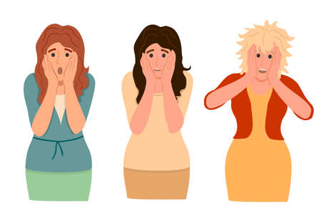 Set of amazed, surprised young women. Three women with open mouths and excited reactions. Flat vector cartoon illustration isolated on white background 矢量图像