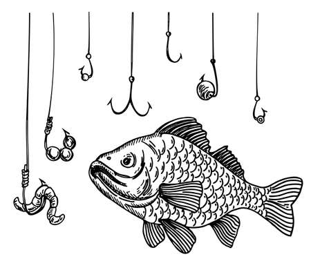 Fish and a lot of fish hooks. Hand drawn fishing symbol. The metaphor that the fish is in danger among the many hooks.