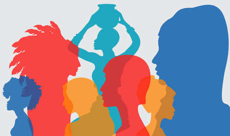 Silhouette profile group of women of diverse culture. Diversity multi-ethnic and multiracial people. Racial equality, anti-racism. Multicultural society. The concept of women, femininity, diversity. 矢量图像