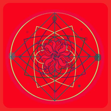 Sacred geometry, flower love illustration for postcard Ilustrace