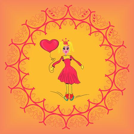 post teen: girl with a heart. Cute girl. Romantic girl. Illustration