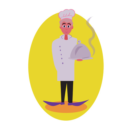 is outlined: Cook avatar and person illustration. Flat colored outlined style. illustration.