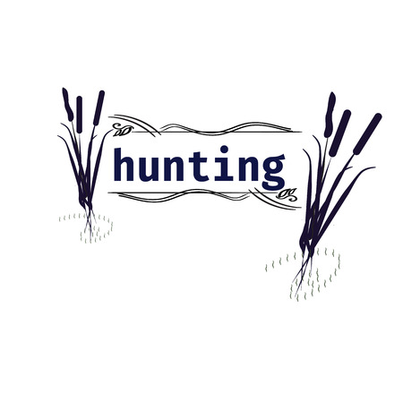 cattails: Hunting logo AND design elements. cATTAILS. VECTOR