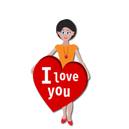 i love you heart: GIRL WITH I LOVE YOU HEART STICKER Illustration