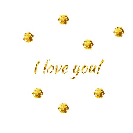 I Love You witt gold decorative elements Illustration