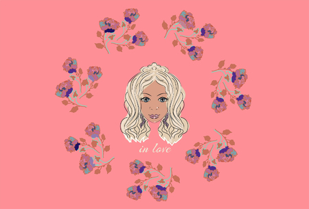 could: Vector illustration of girl in love with roses frame. Could be as print, card