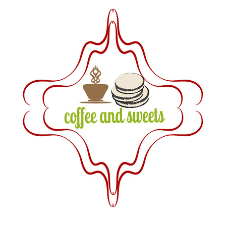 Coffee and cakes label,   vector illustration