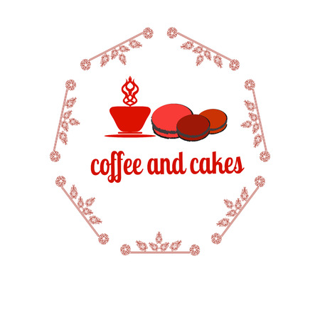macaron: Coffee and cakes label,   vector illustration