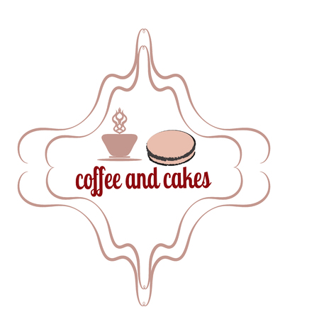 sugar cube: Coffee and cakes label,  , vector illustration