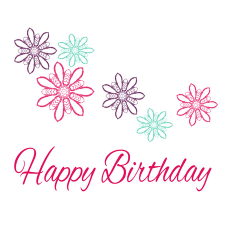 finesse: Happy Birthday. Original Drawn Illustration Stock Photo