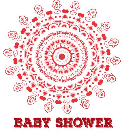 symmetry: baby shower. Symmetry circle shape child decoration. Baby shower or birthday invitation template.Mandala
