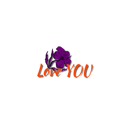 vector i love you with cartoon flower for web