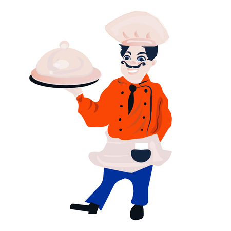 goody: funny cartoon restaurant character, merry cook icon, isolated no background, chef man, cooking vector