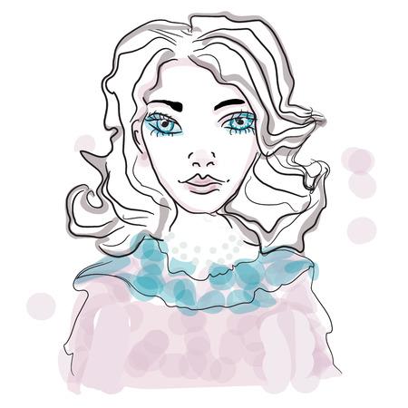 portrait of a genteel girl, vector woman cute face