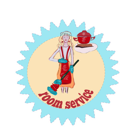 homemakers: Happy housewife, room service logo, cute blond girl