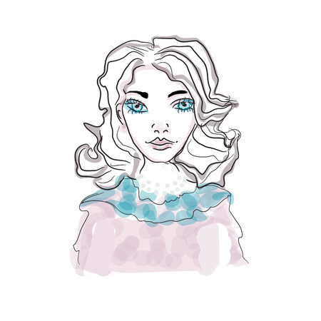 Portrait of young beautiful woman with blue eyes - isolated. Hand drawn vector Illustration