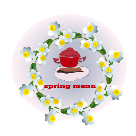Cover of Menu with Narcissus Blossoms, spring season, vector Illustration