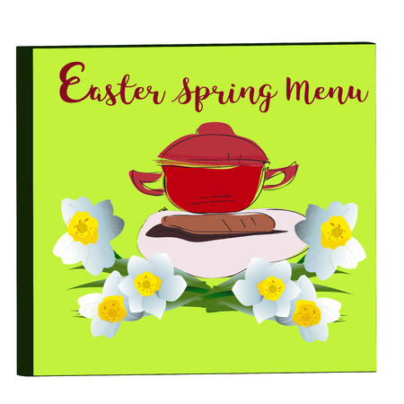 specialities: Cover of Menu with Narcissus Blossoms, spring season, vector Stock Photo