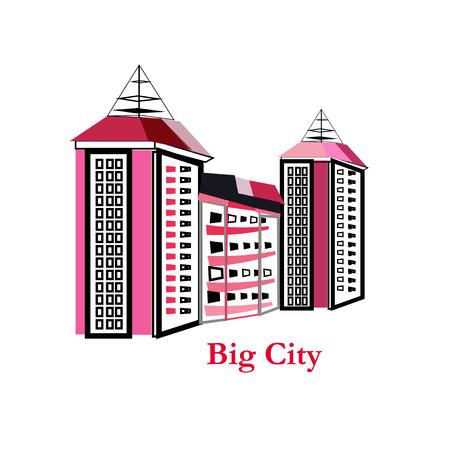 Cityscape Building Line art Vector Illustration design - Big city