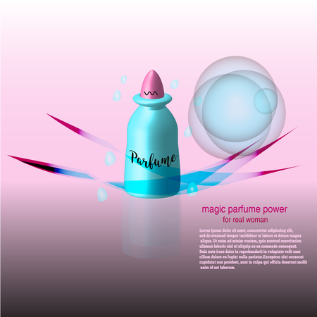 humidify: Cosmetic ads template, Realistic Cosmetic bottle. Rose blue lady parfume. 3D illustration. Illustration