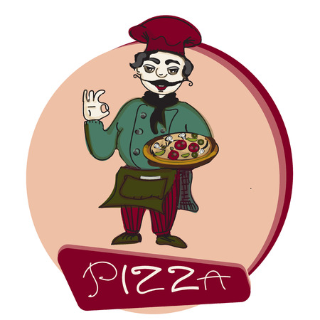 french culture: chef pizza banner, cooker character, vector illustration hand drawn