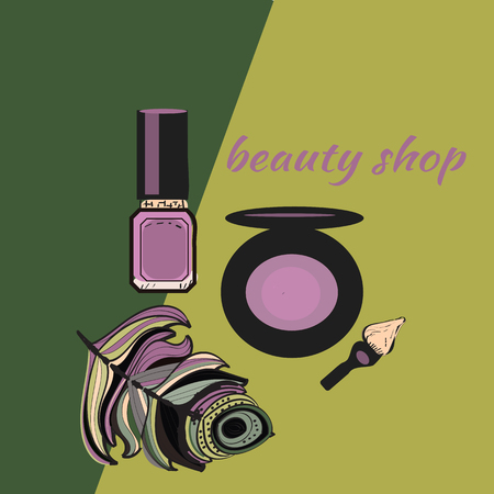 Cosmetics and fashion background with make up artist objects lipstick, brush. With place for your text .