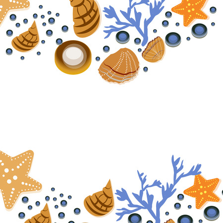Happy summer greeting card with seashells on white background. Square frame from hand drawn sea shells and stars, corals, vector