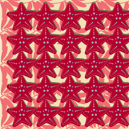 Sea travel seamless background with underwater diving animals. Starfish. Vector aquatic pattern, doodle summer vacation collection, In red